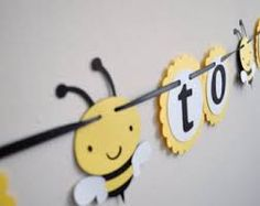Mommy To Bee Banner Baby Shower Neutral Decoration Yellow And Black Bumble