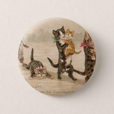 Vintage Victorian Cats Kittens Valentine's Day Button - Saint Valentine's Day gift idea couple love girlfriend boyfriend design