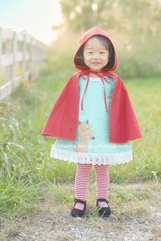 Little Red Riding Hood Cape and Sweet Dress decorated with the antagonist in the story the Wolf !!! Everthing plus the little girl is enchanting!! Picture from Charla Anne's website.