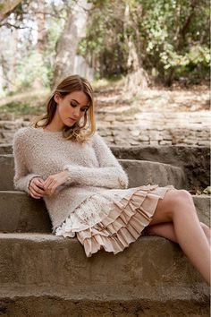 """This sweater is absolutely oh so cozy and perfectly adorable! The lace detailing along the bottom edge and back opening topped with a delicate ribbon is just gorgeous! This will be your favorite """"go t"""