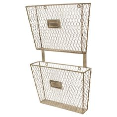 Add an industrial-chic touch to your entryway or home office with this 2-tier metal wall organizer, showcasing nameplate accents and a mesh design.