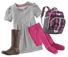 Back-to-school fashion for a pre-K girl. Add a pop of pink with a cute pair of tights!