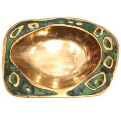 A Fine Pepe Mendoza Brass and Ceramic Ashtray Mexico 1960 | From a unique collection of antique and modern ashtrays at http://www.1stdibs.com/furniture/dining-entertaining/ashtrays/