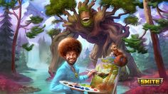 'Smite' adds Bob Ross as a paint-throwing playable character Bob Ross is about to do battle with the gods. The Joy of Painting host known for his soft voice permed afro and happy little trees is coming to Hi-Rez Studios mythology-themed MOBA Smite later this month as a character skin for Sylvanus.  Although The Joy of Painting aired in the 80s and early '90s and Ross himself died of lymphoma in 1995 the laid-back artist is enjoying a second round of fame in the gaming community thanks to…
