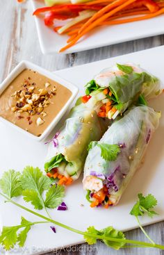 Homemade Fresh Summer Rolls with Easy Peanut Dipping Sauce from @sallybakeblog