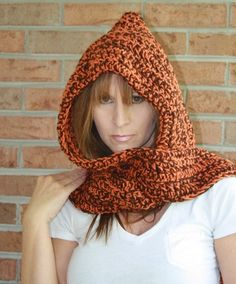 Ravelry project gallery for a scoodie your how to guide for a free crochet hooded scarf patterns hooded scarf scoodie hand crocheted spice and chocolate brown dt1010fo