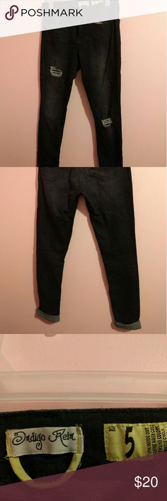 Distressed skinnies. Super stretchy and cute.  Great with boots. Indigo Rein Jeans Skinny
