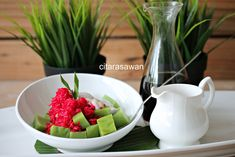 post-feature-image Nasi Kerabu, Serving Bowls, Watermelon, Strawberry, Fruit, Tableware, Recipes, Food, Image