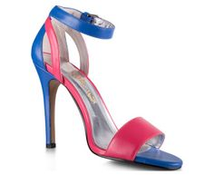 Nikki From PeepToe Women's 'To: Buenos Aires' - Colour Blue/Fuschia - Colour Pop Your Outfit | Ankle Strap Closure | Leather Upper & Lining | Heel 11cm