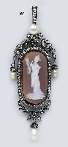 "Victorian Pearl, Rose-Cut Diamond, Gold, and Stone Cameo Pendant of a ""Quan Yen"" by Beaudouin, Paris."