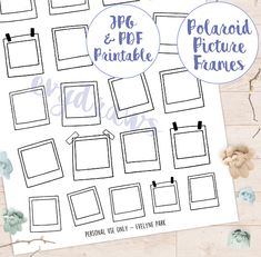 Polaroid Picture Frame Stickers Doodle Art Printables