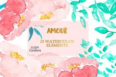 Pink Watercolor Peony Clipart by Essem Creatives on @creativemarket