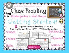 Close Reading for Kindergarten & First Grade: Getting Started Quarter 1 Bundle
