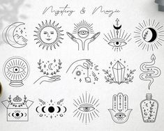 Ad: Magic collection by Alisovna on Magic collection I'm happy to present Magic collection – black and gold collection of magic and mystery illustrations, pre-made logos and Cute Tiny Tattoos, Mini Tattoos, Small Tattoos, Unique Small Tattoo, Flash Art Tattoos, Mystic Symbols, Poke Tattoo, Future Tattoos, Tattoo Drawings