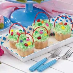 Very easy and cute cupcakes for Easter.  If you don't like coconut, green sugar crystals work just as well.