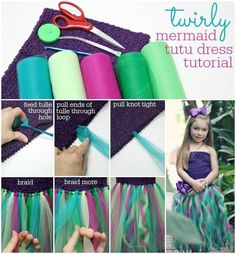 DIY Twirly Mermaid Dress - a fun and funky tutu dress mermaid costume made with tulle and a crochet top.