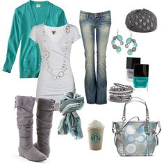"""Oh, how I love blue cardigans."" by chelseawate on Polyvore"