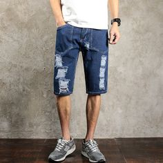 416f1323fb74c 2017 new summer Fashion Casual Solid Denim Jeans Shorts Joggers Men Washed Hip  Hop Short High Quality Hot Sale plus size 28 42-in Jeans from Men s  Clothing ...