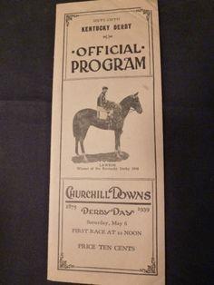 1939 Kentucky Derby Program