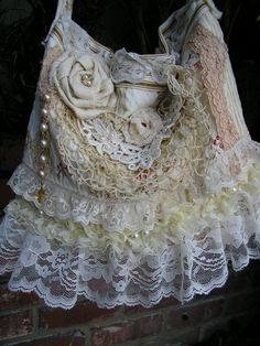 PEARLS Lace Purse frilly antique white lace by TatteredDelicates, $75.00