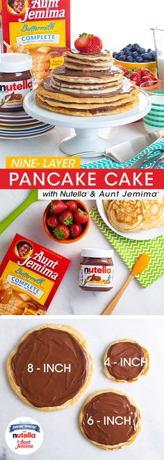 In honor of International Pancake Tuesday, how's about whipping up this Aunt Jemima® Pancake Cake with Nutella? After preparing your batter, create three 8-inch, 6-inch and 4-inch flapjacks. Spread with Nutella® and get stacking. Garnish with fresh strawberries and viola, pancake lovers rejoice!