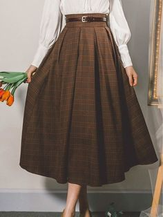 Long Skirt Fashion, Long Skirt Outfits, Long Skirt Hijab, Plaid Outfits, Fashion Skirts, Dress Long, Pretty Outfits, Pretty Dresses, Long Plaid Skirt