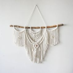 Large Macrame Wall hanging A fusion knots and of course lots of fringing! This design features brass and copper beading. Your piece is made by hand using natural unbleached cotton and revived branches from local woods in Upstate NY and the Adirondacks. ✨✨✨ SIZING She measures roughly 30in x 20in (including the branch) so she is sure to stand out wherever you choose to hang her. Sizing is approximate: Branch Width - 30 Macrame Length - 20 Rope hanger- 15 (adjustable) ✨✨✨ MADE TO ORDER I...