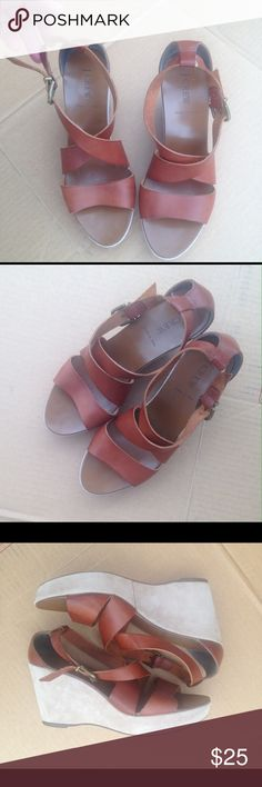 Jcrew brown leather wedge sandals 9 Great shape. Only worn a few times. Genuine leather. Adjustable ankle strap. J. Crew Shoes Wedges