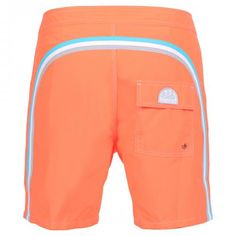 FLUO ORANGE NYLON TAFFETA LONG SWIM SHORTS WITH RAINBOW BANDS Low rise fluo orange nylon taffeta boardshorts with the three classic rainbow bands on the back. Fixed waist with adjustable drawstring and Velcro fly. Internal mesh. A Velcro back pocket. Sundek logo on the back. COMPOSITION: 100% NYLON. Our model wears size 32 he is 189 cm tall and weighs 86 Kg.