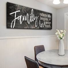 """Family - where life begins and love never ends. "" Quote on a beautiful wooden image, premium panoramic printed canvas.  SELECT YOUR REQUIRED SIZE THEN CLICK ""ADD TO CART"" TO BUY  Limited time run of this print! Be sure to order while you can!  	 Proudly made in the USA  	Our canvases are delivered ready to hang!  Stretched on a wood frame around a 1.25″ thick wood frame 	Lightweight yet strong frame  Easy to hang - No mounting hardware required! 	Exclusive designs to Gearden.com! Not…"