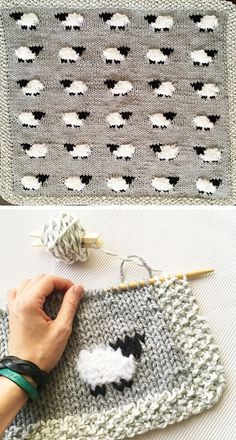 Sheep Baby Blanket - Free Knitting Pattern - knitting is as easy as 3 da . Sheep Baby Blanket – Free Knitting Pattern – knitting is as easy as 3 knitting comes down Baby Knitting Patterns, Knitting Stitches, Baby Patterns, Crochet Patterns, Blanket Patterns, Embroidery Patterns, Stitch Patterns, Easy Knitting, Knitting For Beginners