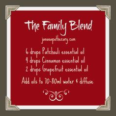 I don't know why this is called the family blend but it's nice and soothing. Perhaps it helps with crazy family during the holidays. If so I'm trying it.   For more info or to order, visit: http://healthinsideandout.com  https://m.facebook.com/texashealthinsideout