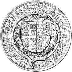 Seal with the coat of arms of Queen Phillippa of Lancaster 1394-1430) wife of Eric of Pomerania, King Denmark, Norway and Sweden.