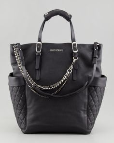 Blare Leather Tote Bag, Black by Jimmy Choo. (Great bag for toting my kids around to sports, right? LOL) I can fit a water bottle on each side! Black Leather Tote Bag, Quilted Leather, Jimmy Choo, Black Diaper Bag, Diaper Bags, Baby Bags, Cheap Burberry, Burberry Handbags, Fendi Bags