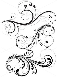 Floral and Swirls Vectors