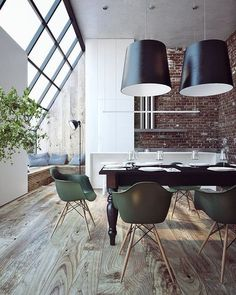 interiors, brick wall, windows, wooden floor, dining area