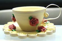 Hooks And Laces: 3d paper quilling teacups with roses