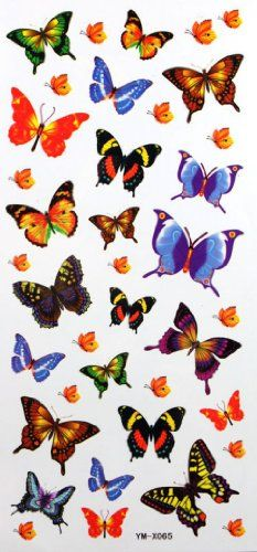 "Tattoo size 7.28""x3.54"" long last and non toxic realistic temporary tattoo sticker color butterfly sexy children fake temp tattoos. Safe and non-toxic design ideal for body art. Professional grade made to last 3 to 5 days and easily transferred by water. Perfect for vacations, girls night, pool parties, bachelorette parties, or any other event you want to look glamorous."
