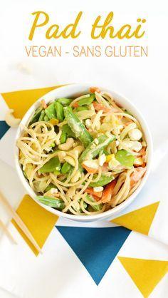 Pad thaï vegan et sans gluten - sweetandsour fr recette Sweet & Sour Veggie Recipes, Asian Recipes, Diet Recipes, Vegetarian Recipes, Healthy Recipes, Vegetarian Dinners, Healthy Tips, Plat Vegan, Healthy Weight Gain