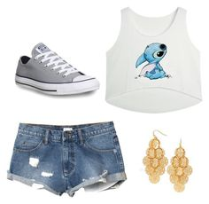 """""""stitch"""" by thornton4221 ❤ liked on Polyvore featuring RVCA and Converse"""