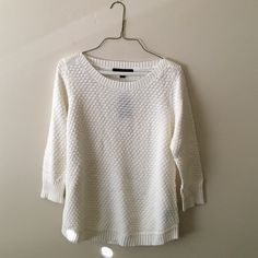 *Donating Soon* White 3/4 sweater Brand new with tags, brand is fever, super cute and soft, 55% cotton 45% acrylic NO TRADES Fever Sweaters