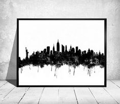 New York city skyline New York print poster von ColorfulArtstudio