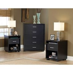 Hometrends 5-Drawer Chest and Set of 2 Nightstands, Black Woodgrain