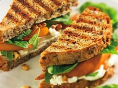 """""""Spinach, Pear, and Walnut Panini with Feta"""" from Cookstr.com"""