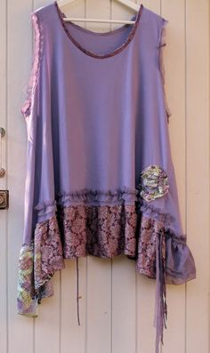 Siren flowers... Plus size upcycled tshirt tunic by MollaMaia
