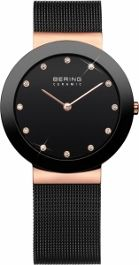 Bering Ladies Stainless Steel Black Ceramic Bezel Rose Gold Plate Case Black Dial With Swarovski Crystal Batons Black Mesh Band/ Sapphire Crystal Glass 50M
