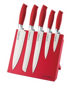 Another great find on #zulily! Red Six-Piece Nonstick Knife & Magnetic Stand Set #zulilyfinds