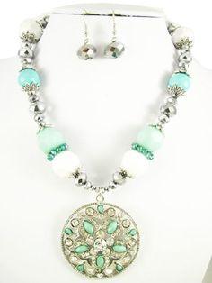 Gorgeous Circle Rhinestone and bead necklace set by RainingRustic, $20.00