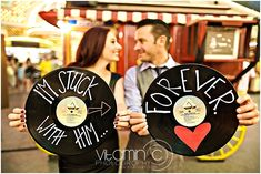 Las Vegas Vintage Engagement with Record Props | Vitamin C Photography