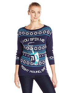 Isabella's Closet Women's You Spin Me Right Round Baby Dreidel Hanukkah Sweater, Blue, Large Isabella's Closet http://www.amazon.com/dp/B01192OZ0S/ref=cm_sw_r_pi_dp_agwrwb0TA4CWS